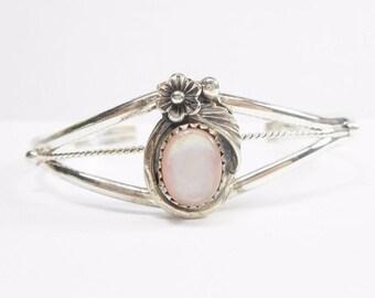 """Squash Blossom Cuff, Native American Cuff, Sterling Cuff, Cuff Bracelet, Sterling Silver Pink Mother Of Pearl Cuff Bracelet 7"""" Signed #2549"""