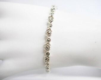 """Marcasite Bracelet, Sterling Bracelet, Vintage Bracelet, Link Bracelet, Vintage Sterling Silver Marcasite Accent Bracelet 7.25"""" #2991"""