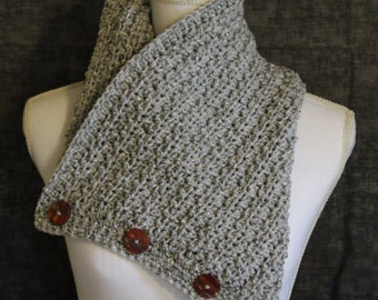 Handmade Crocheted Cowl - Grey