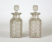 Antique Pair of Victorian Daisy and Button Pattern Glass Dresser Bottles Vanity Perfume Cologne Stoppers EAPG Early American Pattern Glass