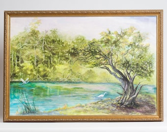 Large Vintage Original Oil Painting Landscape Tropical Scene South Florida Water River Canal White Heron Turquoise Blue Green Artist Signed