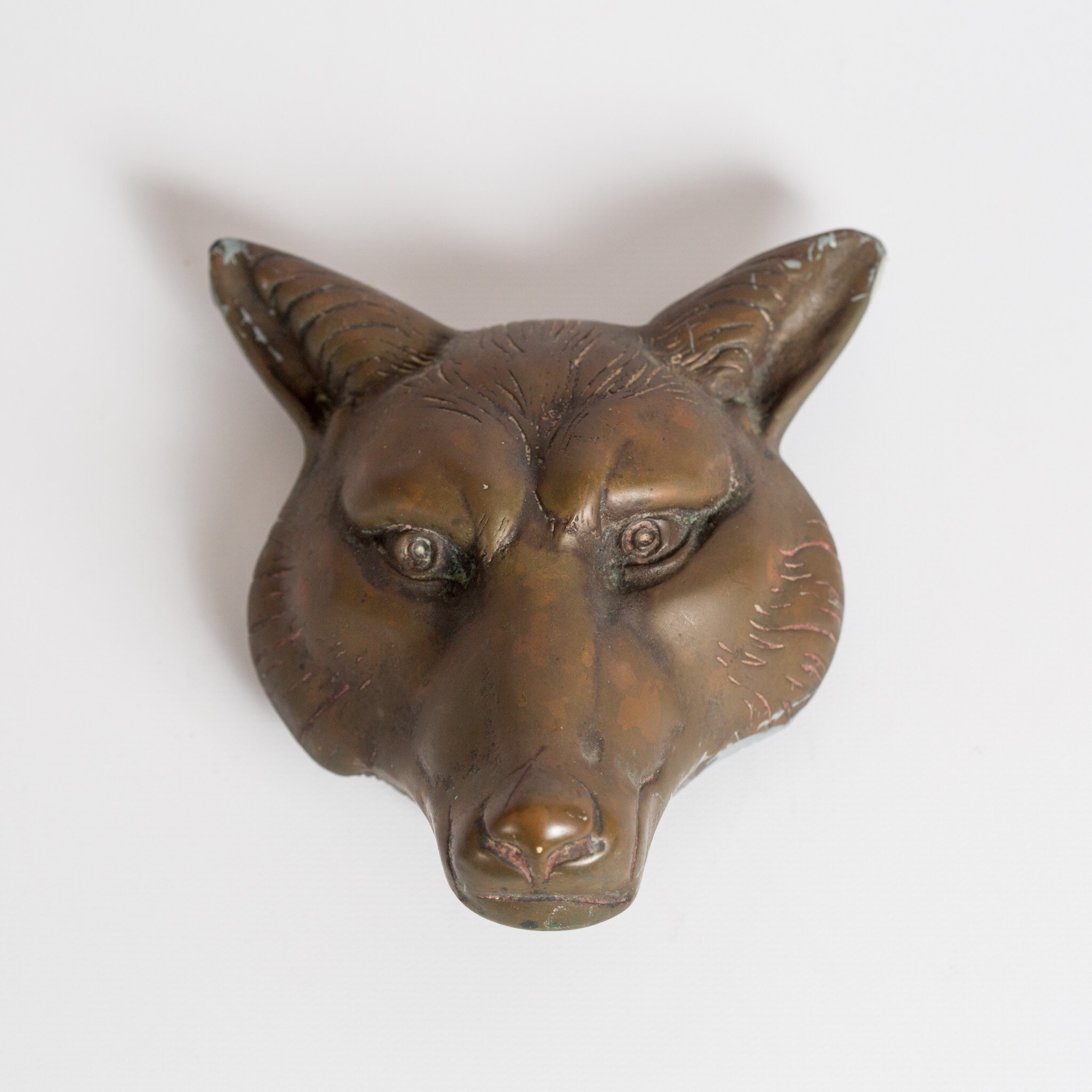 Antique Very Sly Fox Door Knocker Large Heavy Hand Cast Metal Original  Patina Victorian Era Gothic Revival Style Wolf Arts And Crafts Period