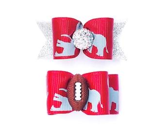 Dog Hair Bows Alabama Pet Bow Alabama Crimson Tide Dog Bow Red White Football Bows Roll Tide Dog Bow Barrette Double Elastic Bands