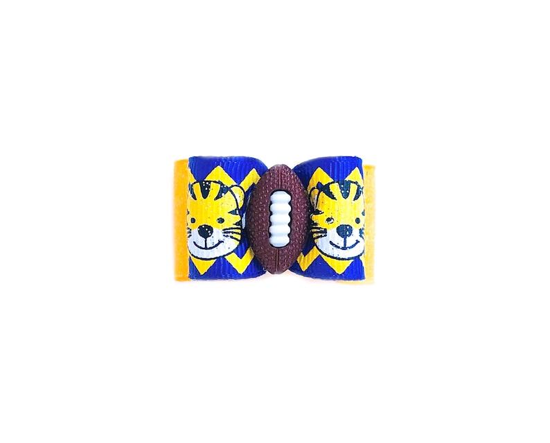 LSU Tiger Paw Pet Hair Bows Double Elastic Bands Purple and Gold Football Bows Chevron and Polka Dots and Tiger Stripes Dog Hair Bows