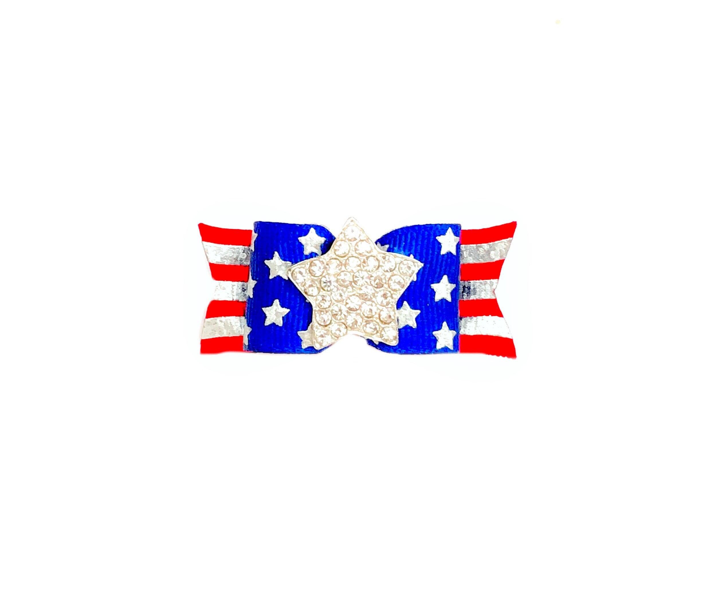 Patriotic Silver Foil Hologram Stars Stripes Firework Glitter Red White Blue Stars Stripes Dog Bow Independence Day Veterans Dog Hair Bows