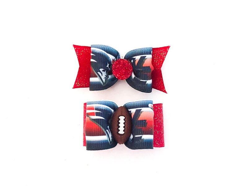 promo code a8401 7cd6f NFL Dog Hair Bows- NE New England Patriots Dog Bow Double Elastic Bands  Football Bows