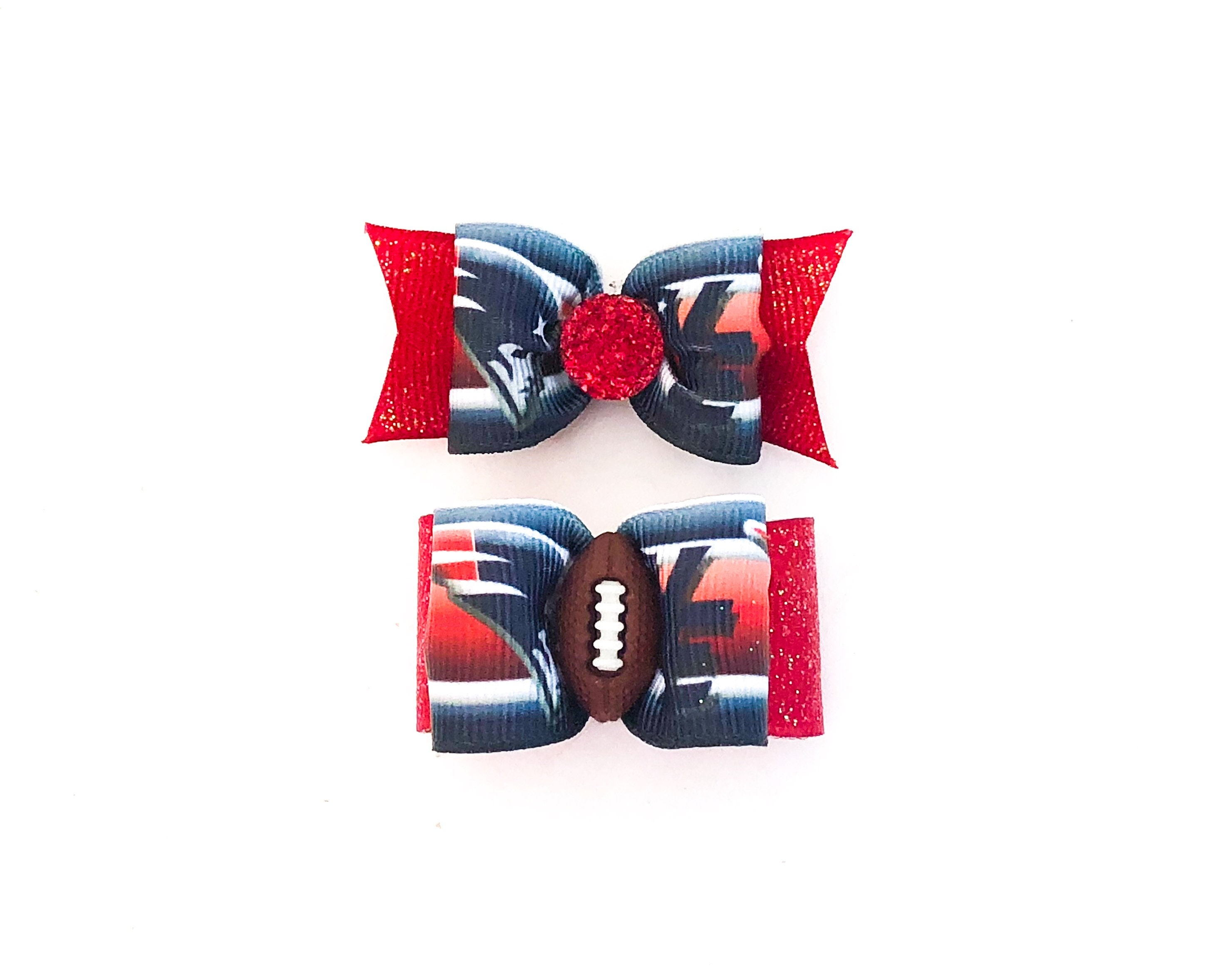 timeless design 9c858 5f4a3 NFL Dog Hair Bows- NE New England Patriots Pet Bow Double ...
