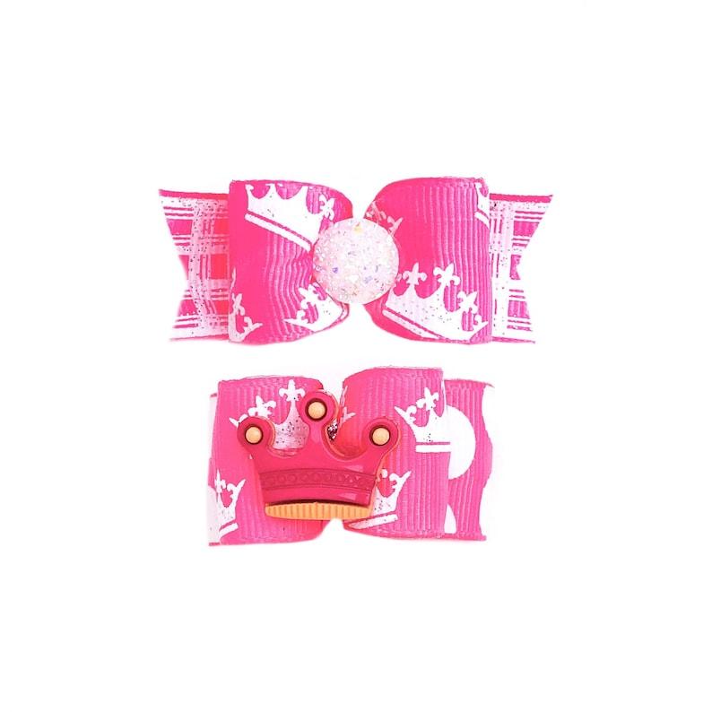 Crowns Princess Tiara Hot Pink and White Glitter Dog Bow Birthday Barrette or Elastics Dog Hair Bows