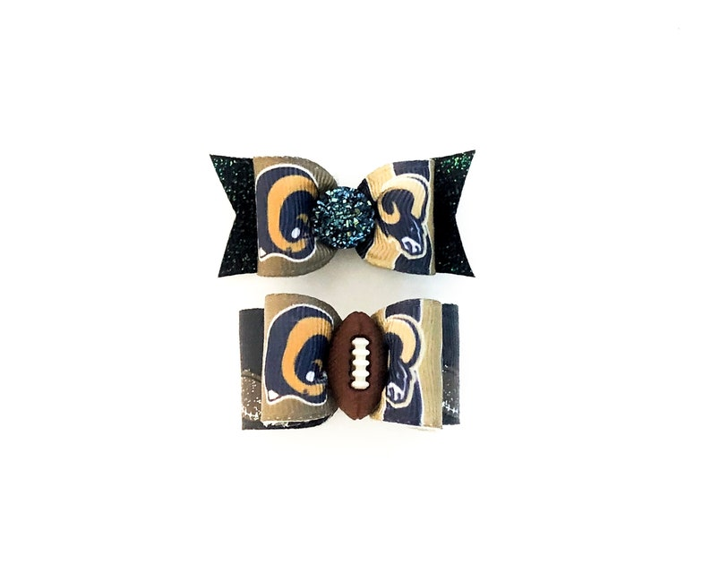 43ce7f6fa097a NFL Dog Hair Bows- Los Angeles LA Rams Dog Bow Double Elastic Bands  Football Bows