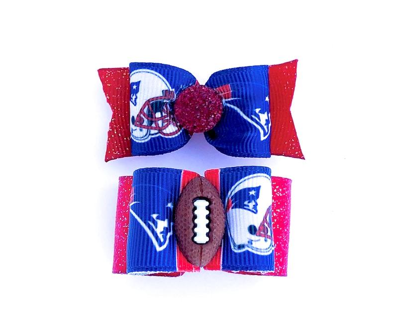 13c356b3ef655 NFL Dog Hair Bows- NE New England Patriots Dog Bow Double Elastic Bands  Football Bows