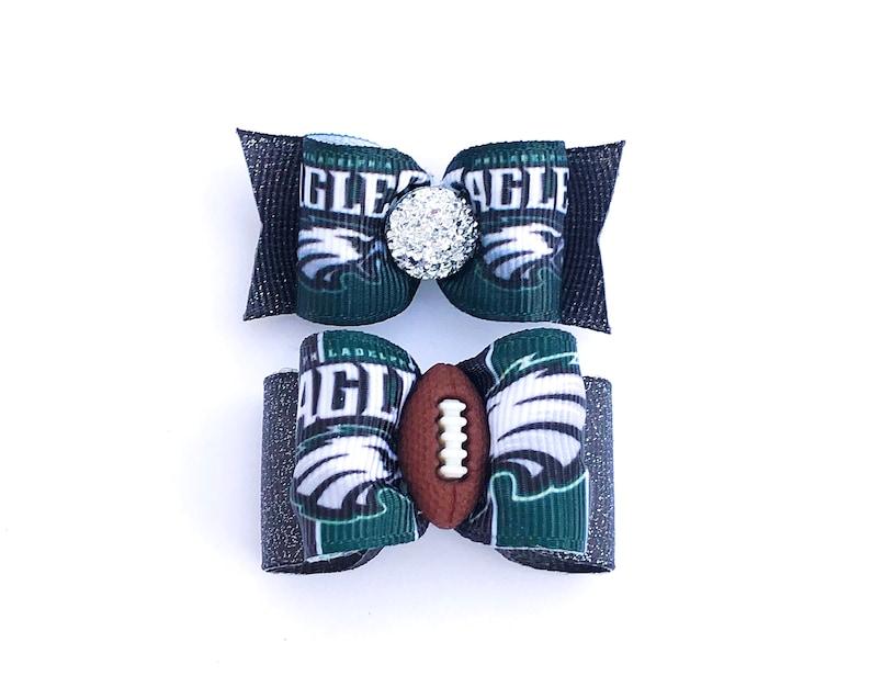 separation shoes 90ecd 0d9c6 NFL Dog Hair Bows- Philadelphia Eagles Dog Bow Double Elastic Bands  Football Bows Helmet Logo