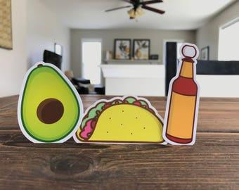 Taco, Hotsauce, Avocado 3-pack die-cut stickers