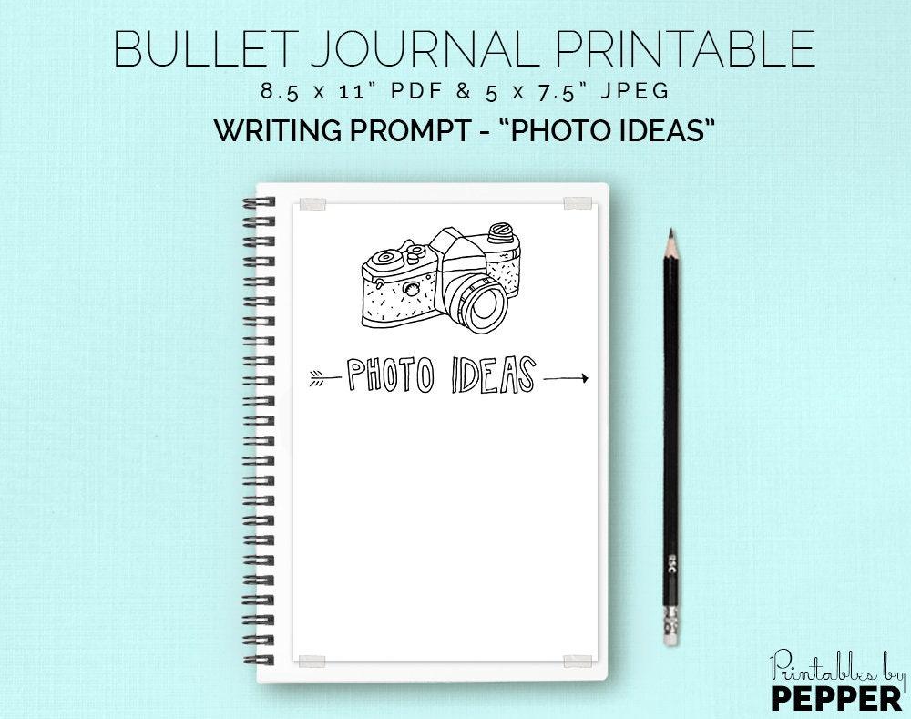 Photo Ideas List Prompt Bullet Journal Printable Planner Etsy