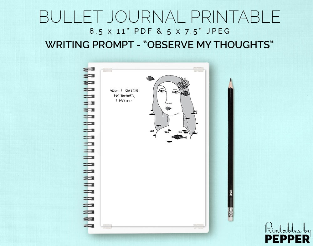 Observe My Thoughts Bullet Journal Printable Planner BuJo | Etsy
