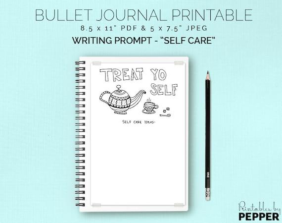 PDF 5x7.5 Bullet Journal Printable Writing Prompt Bujo Planner Self Care Ideas List Coloring Insert Treat Yo Self JPEG Art Diary