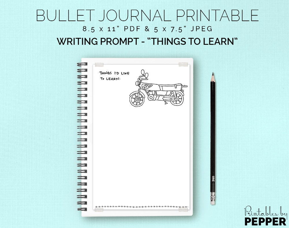 Things to Learn Bullet Journal Planner Printable Bujo Art | Etsy