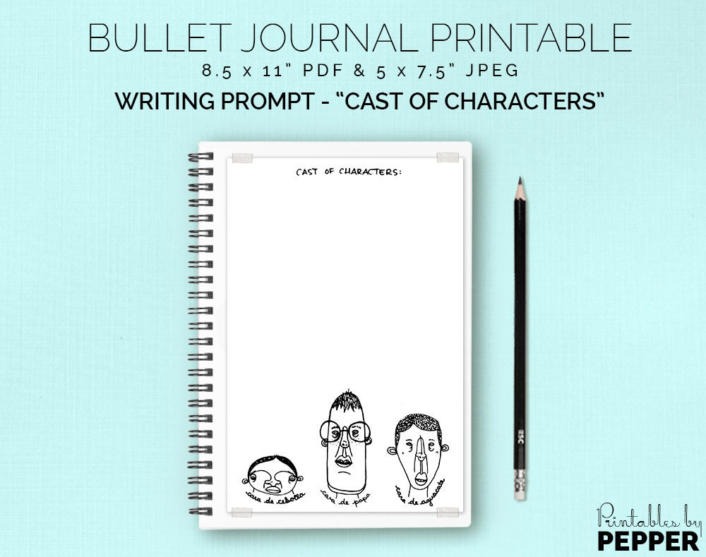 Cast of Characters Travel Journal Printable Bullet Planner | Etsy