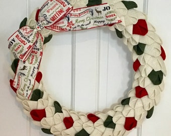 Christmas Burlap Petal Wreath, Burlap Wreath, Christmas Wreath, Christmas Decor, Front Door Wreath, CircleDecorWreaths, Red and Green Wreath