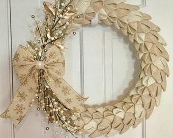 Winter Wreath, Burlap Petal Wreath, Burlap Wreath, Gold Wreath, Front Door Wreath, Winter Wedding Wreath, Elegant Christmas Wreath