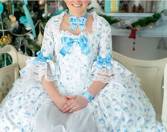 Marie Antoinette dress in floral cotton, full suit with petticoat