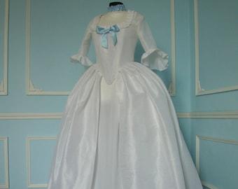 Dress 18th century Marie-Antoinette silk + petticoat + skirt under - on order
