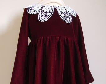 Dress and baby girl Burgundy velvet and off white lace Peter Pan collar