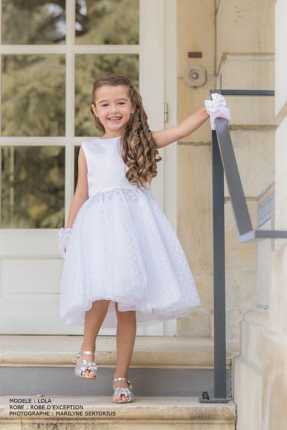 7250dad26b9 Robe de cérémonie en tulle plumetis blanc pour fille 3 à 8 ans