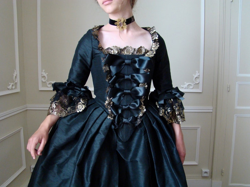 6f619260dbfb0 18th century dress Marie-Antoinette black wild silk and lace from XXS to L  gold