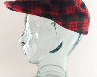 836f3df2f1a Vintage Pendleton Red Plaid Tartan 100% Virgin Wool Cabbie Newsboy Cap Hat  Size Large