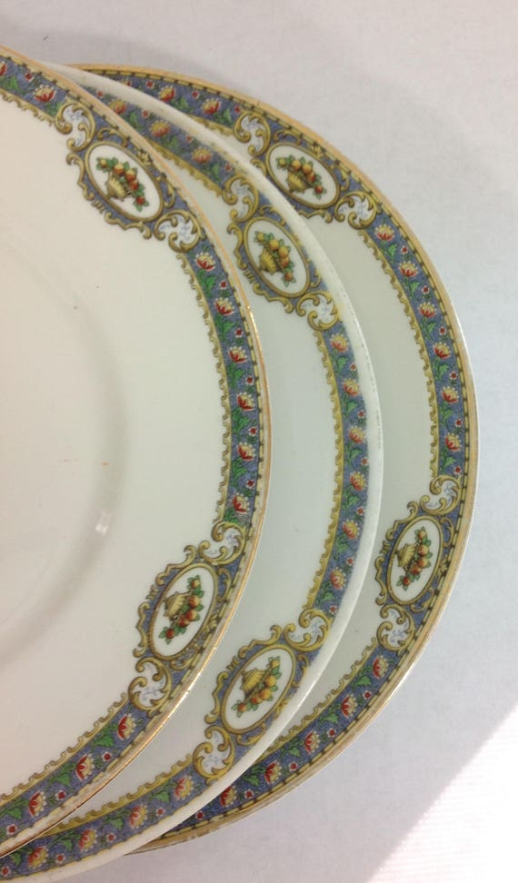 Antique Limoges China Plates Set Of 3 Bc Floral And Fruit Etsy