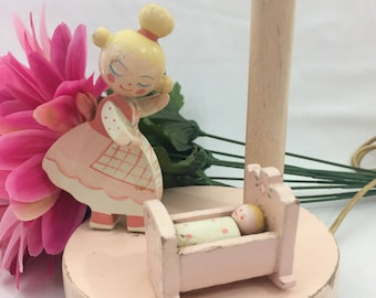 Vintage Irmi Little Girls Pink Mommy and Baby Nursery Table Lamp