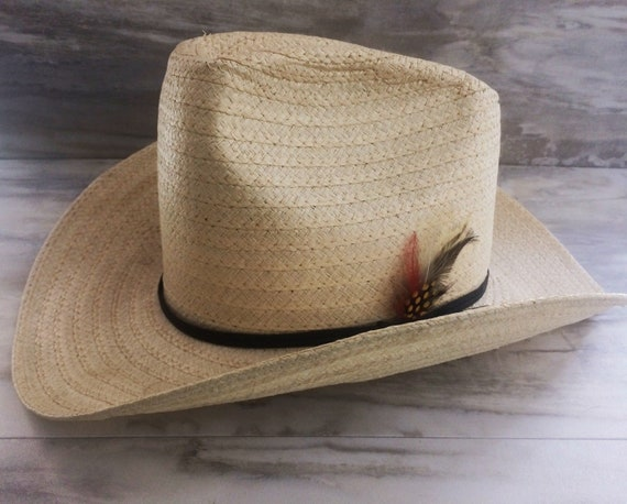 Vintage Miller Bros. Wrangler 7 1 4 Natural Straw Cowboy Hat  e40e0be30d6