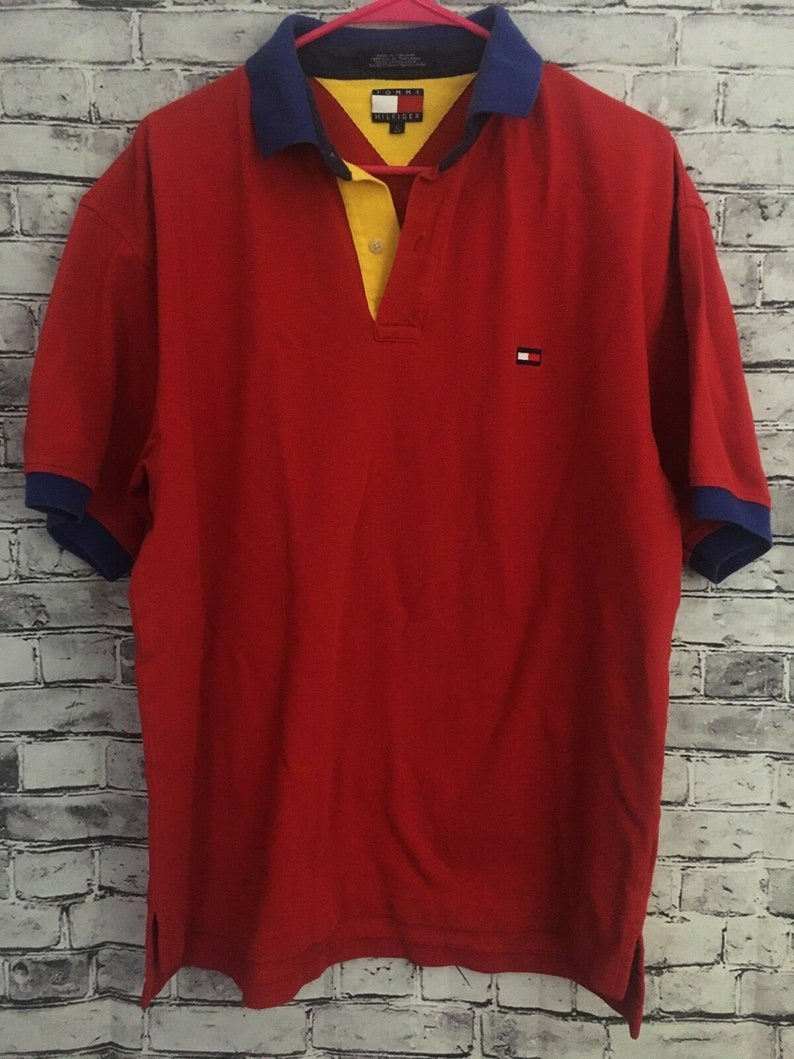 e5708625d Vintage Tommy Hilfiger 90 s Red Polo Shirt Large Preppy