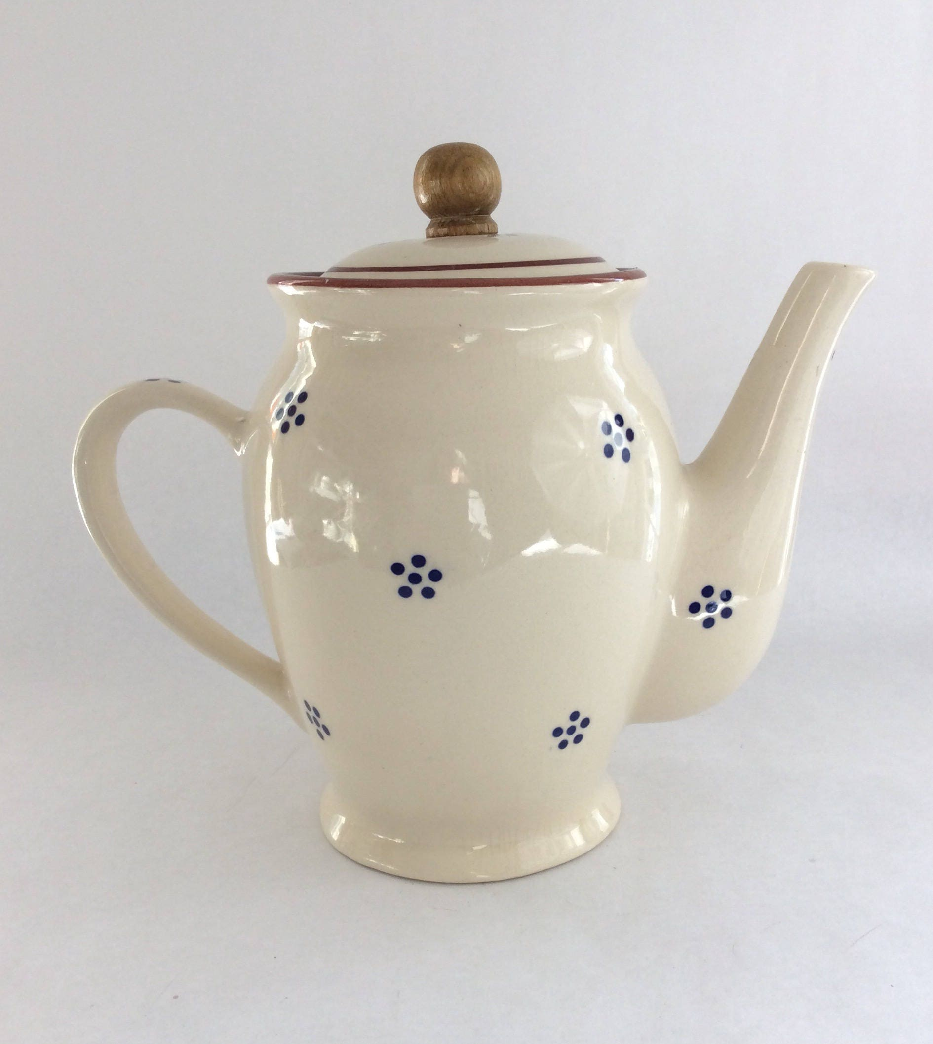 Vintage Teapot White With Blue Dots Farmhouse Tea Party Rustic