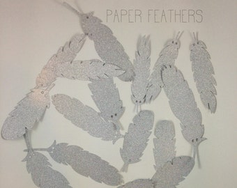 Feather Banner Silver Paper Feathers Paper Feathers Feather Garland Set of 21