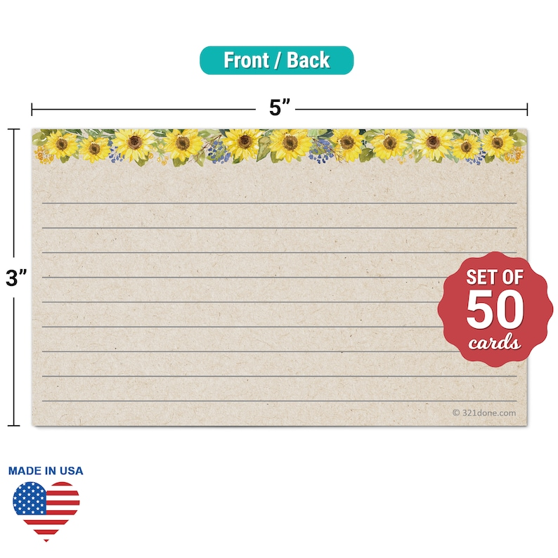 Thick Heavy Duty Cardstock Simple Note Cards 321Done Set of 50 Large 4x6 College-Ruled Lined Notecards Double-Sided Ruled Index Cards