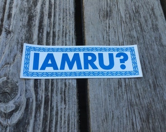 I AM ARE YOU? - Vintage Lesbian Feminist Bumper Sticker