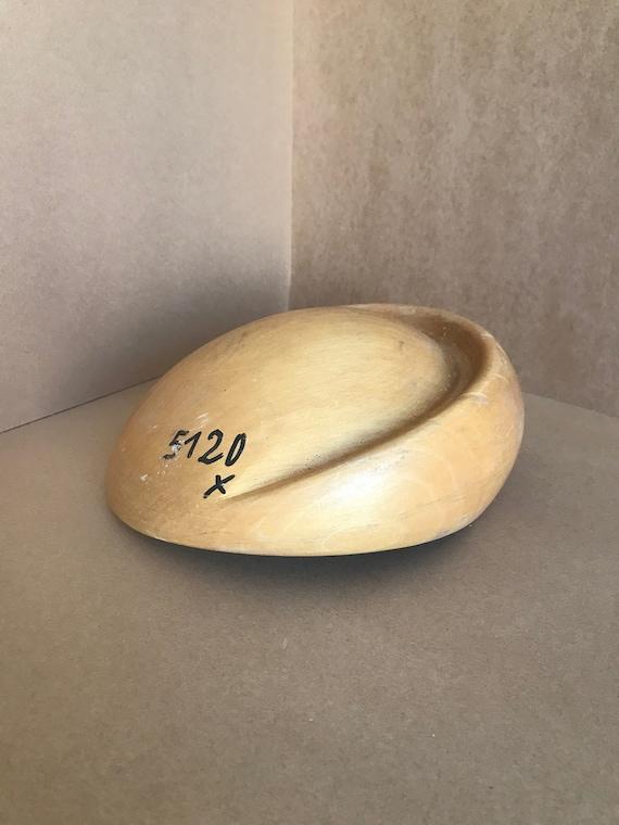Vintage wood crown hat block asymmetric crown bloc