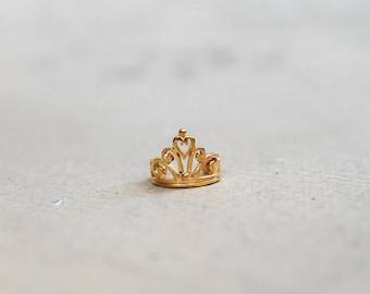 Sterling Silver 925 Princess Crown Ear Cuff