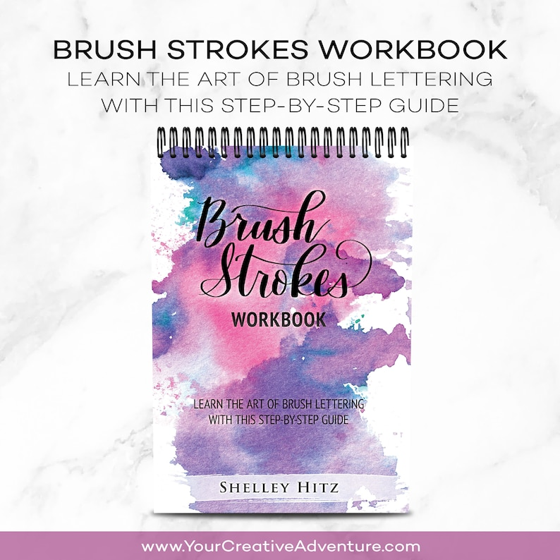 Brush Lettering Workbook Print  Learn Lettering and Modern image 0