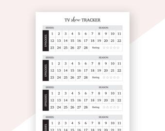 TV Show Tracker | A5 Size | Printable | Planner Refills | Printable Planner Inserts | Digital Download | Television Shows Tracker