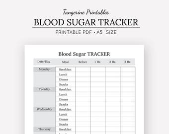 Blood Sugar Tracker   Health Journal   A5 Insert   A5 Planner   Digital Download   Medical Journal   Fitness Planner   Blood Glucose Log