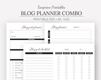 Blog Planner Combo | Blog Post Planner | Blog Post Checklist | A5 Printable Planner Inserts | Planner Inserts | Digital Download