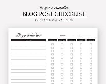 Blog Planner | Blog Post Checklist | Blog Tracker | Blog Journal | A5 Printable Planner Inserts | Planner Inserts | Digital Download