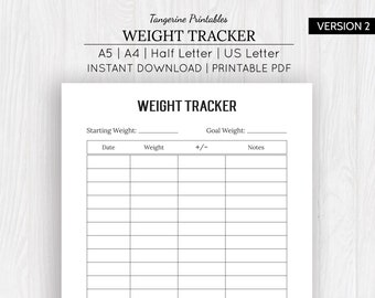 Weight loss chart | Etsy