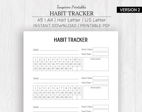 graphic relating to Fitness Tracker Printable called Practice Tracker Pattern Tracker Printable Pattern Tracker A5 Practice Magazine  Exercise Tracker A5, A4, US Letter, 50 percent Letter Dimensions