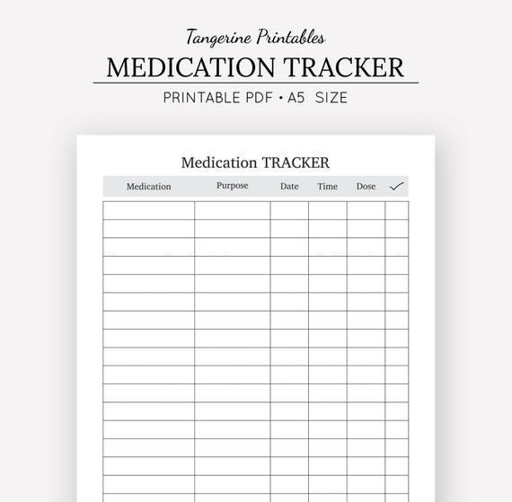 medication tracker medication chart a5 insert a5 planner