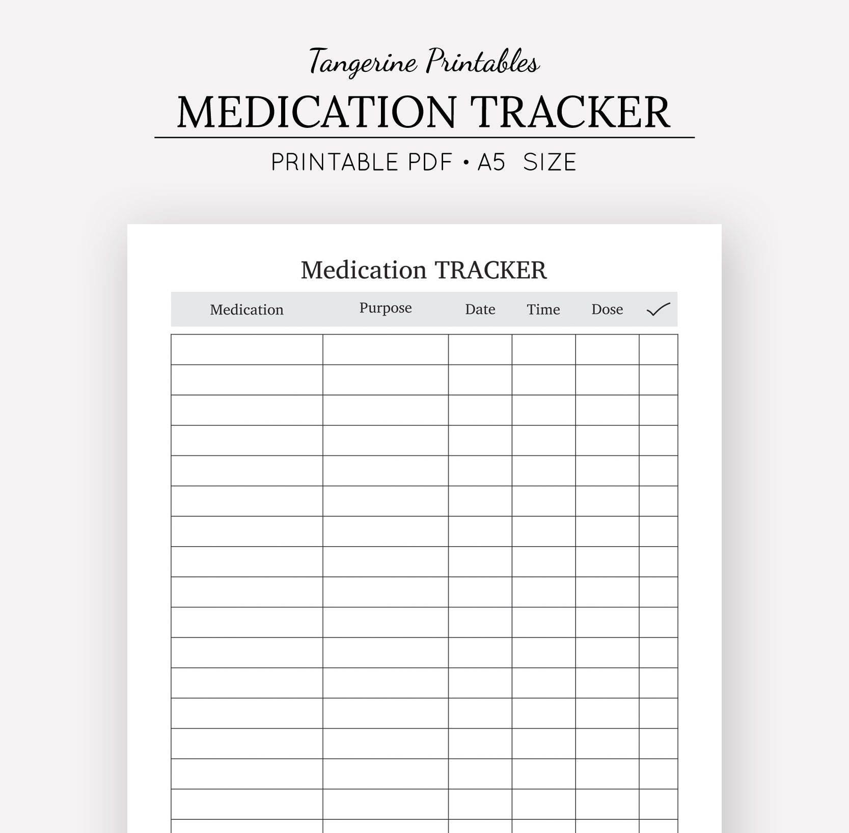 medication tracker medication chart a5 insert a5 planner etsy