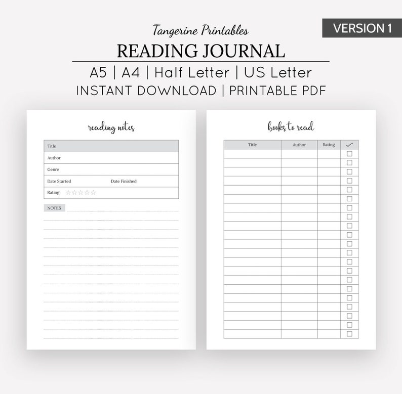 photograph about Reading Journal Printable titled Examining Magazine Printable Reading through Magazine A5 A4 US Letter 50 percent Letter Sizing Printable Electronic Down load Publications Towards Examine E book Examine