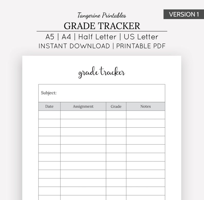 picture regarding Grade Tracker Printable known as Quality Tracker Faculty Planner Printable A5 A4 US Letter 50 percent Letter Measurement PLanner Assignment Tracker College or university Planner University student Planner